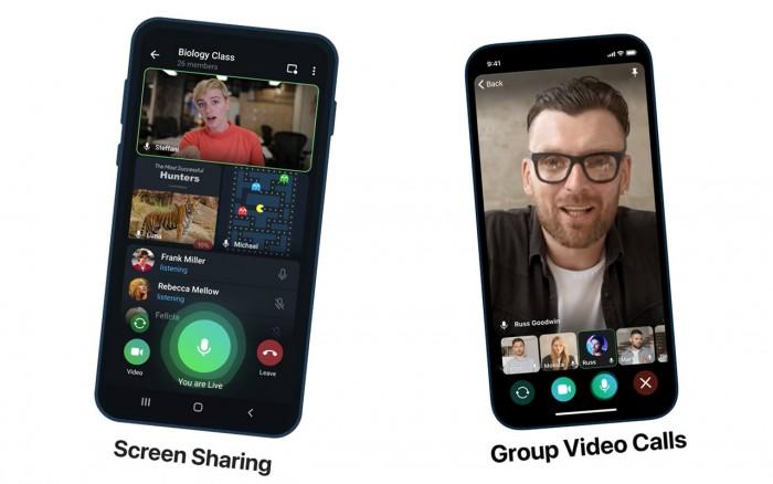 Telegram 屏幕共享和群组视频通话